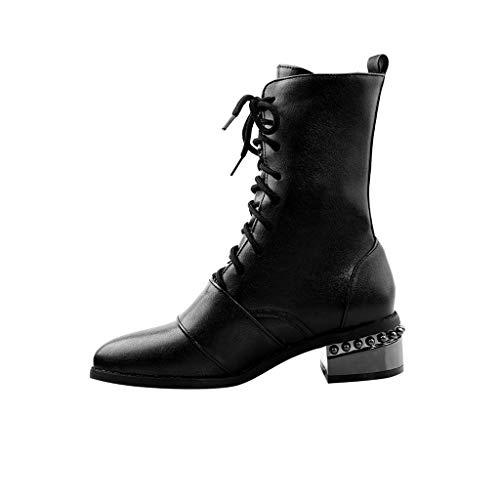 KERULA Stiefel Damen, Active Frauen Dame Marten Classic Plaid Stitch Stilvolle Retro SchnüRstiefeletten mit Schnalle | Plateau Boots | Blockabsatz Profilsohle -