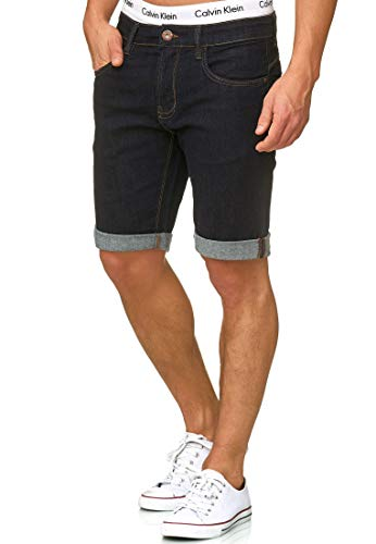 Indicode Herren Caden Jeans Shorts Kurze Denim Hose mit Destroyed-Optik aus Stretch-Material Regular Fit Rinse Wash L Casual Cargo Hose