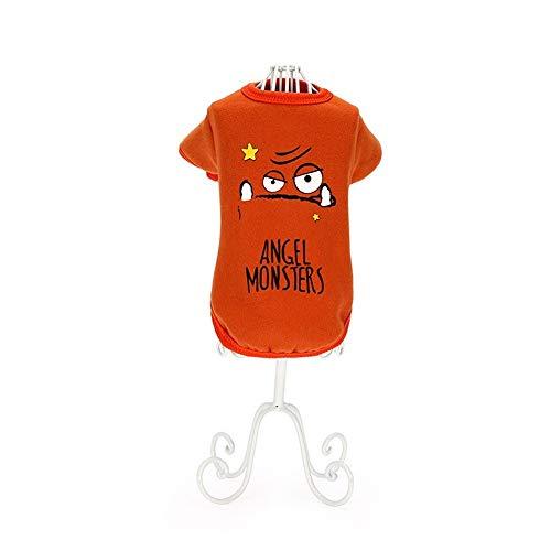 Eyxia-Pet-Master Brief-Druck-Haustier-Kleidung for kleinen Hund, ANGEL MONSTER Printed lustigen Welpen Hoodies Sweatshirt Pullover Tops Dog Outfits` (Color : ORANGE, Size : 12/M)