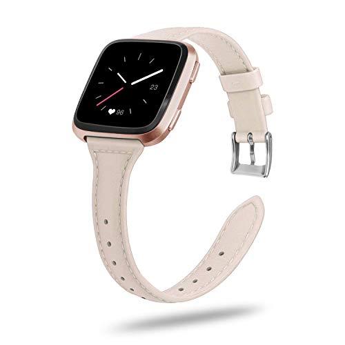 Fintie Armband kompatibel für Fitbit Versa/Fitbit Versa Lite Smart Watch - Premium Uhrarmband aus Echtleder Vintage Ersatzband mit Edelstahlschnalle, Rosa