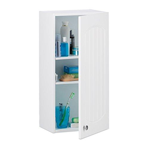 Armario de baño para pared con 2estantes, tablero de fibra de densidad media, altura x anchura x profundidad: 60x 30x 20,5cm, color blanco