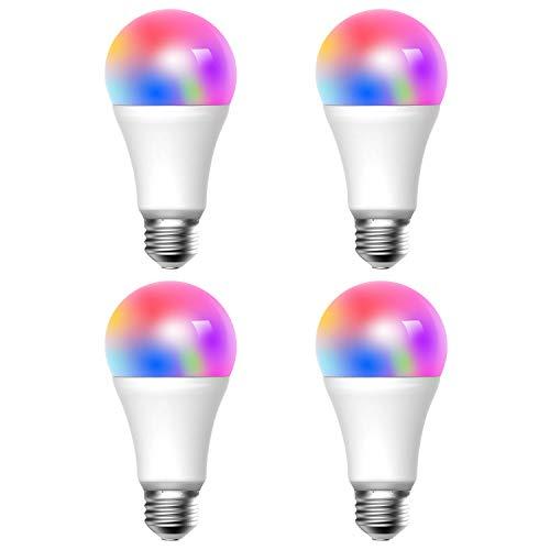 Meross Smart WLAN Mehrfarbige Dimmbare LED Glühbirne Fernbedienung 700 Lumens 9W Äquivalent zu 60W A21 E27 2700K-6500K kompatibel mit Alexa, Google Home und IFTTT, MSL120QUAEU, 4 Stücke - 9w-6500k Glühbirne