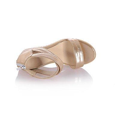 LvYuan Da donna Sandali Comoda PU (Poliuretano) Estate Casual Formale Comoda Zeppa Oro Nero Argento 7,5 - 9,5 cm Black