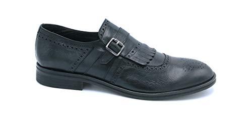 Exton 5353 mocassino pelle nero con frangia fibbia ricamo inglese - taglia scarpa 41 colore nero