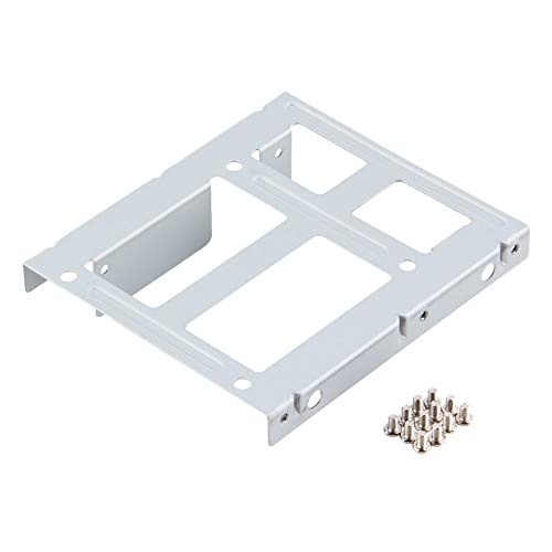 Aluminum 2-Bay 2.5 Inch SSD HDD Hard Disk to 3.5 Inch Drive Bay Converter Adapter Rack Bracket with 12 Screws