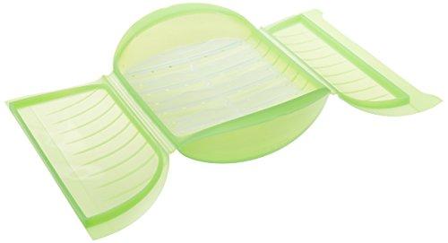 Lékué Estuche de Vapor c/Bandeja para el microondas, Color Verde con una Capacidad de 1400 ml 3-4...