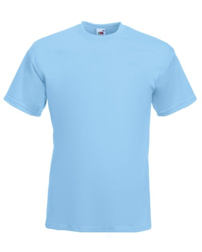 Fruit Of The Loom 61044 Mens Short Sleeve Super Premium T-Shirt Tee Sky Blue