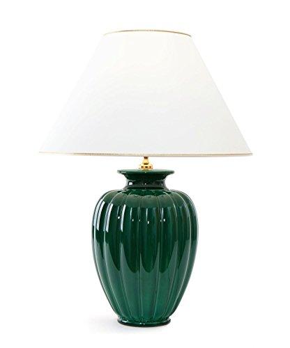 Tischleuchte Lampe Palazzo verde aus Keramik grün| Tischlampe E27 | Handgefertigt in Italien | Exklusive Leuchte mit 24 Karat Gold Veredelung - Grüne Keramik Tisch Lampe