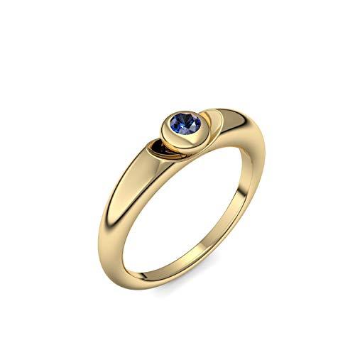 Goldring Saphir 750 + inkl. Luxusetui + Saphir Ring Gold Saphirring Gold (Gelbgold 750) - Escape Amoonic Schmuck Größe 50 (15.9) AM15 GG750SAFA50