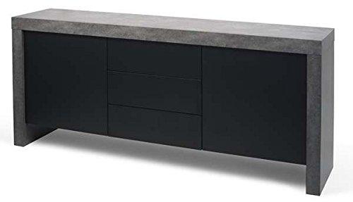 MDS KOBE, Buffet résolument moderne, d'une capacité de rangement impressionnante. - KOBE Buffet 2 portes, 3 tiroirs, 188 x 45 x 79 cm - aspect béton mat, lisse au toucher/noir pur