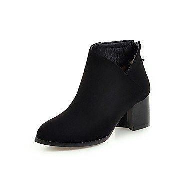 Rtry Femmes Chaussures Flocage Mode Hiver Bottes Bottes Chunky Talon Toe Booties / Bottines Casual Vêtements Bureau & Amp; Carrière Noir Gris Us7.5 / Eu38 / Uk5.5 / Cn38