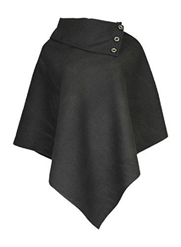 Mesdames Femme de Dames Womens Ladies Laine Poncho Top avec détail de bouton Cape asymétrique (Taille unique) Noir