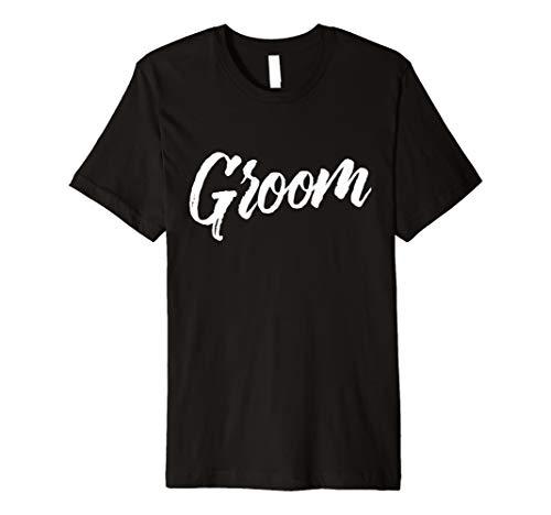 Herren Groom Wedding T-Shirt | White Brush Distressed Text (Wedding-shirt White)