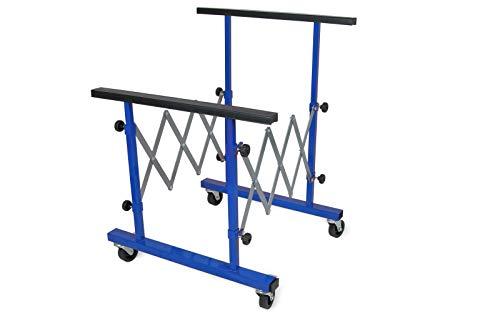 wellenshop Metall Teleskop-Arbeitsbock mit Rollen höhenverstellbar bis 100 kg belastbar Arbeitstisch Werkbank Werktisch Werkstattbock Montagebock Unterstellbock