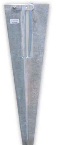 Zaun-Nagel Bodenhülse, Pfostenträger Einschlaghülse mit Klemmschelle - für Pfosten 34 mm Ø, Alternative zum Einbetonieren der Pfosten und Streben.
