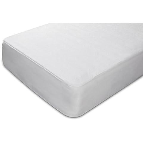 Pikolin Home Anti-ácaros - Protector de colchón rizo algodón, impermeable y transpirable, antiácaros, 135 x 196