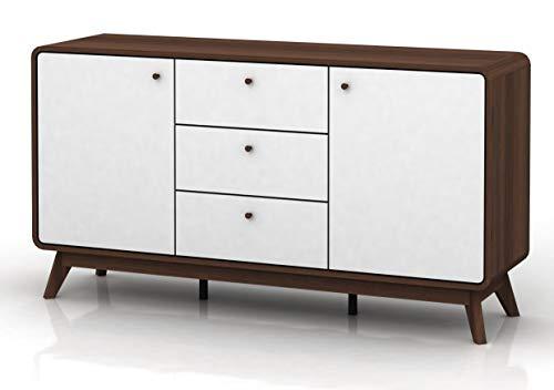 Loft24 Carmen Sideboard Kommode Schrank Wohnzimmerschrank Wohnzimmerkommode Skandinavisches Design, MDF Holz, 140x39x75,2 cm, 2 Türen, 3 Schubladen (Weiß/Walnuss)