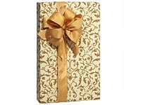 Metallic Scroll (Elegant Metallic Antique Gold & Ivory Beige Scroll Gift Wrap - 16ft Roll by Premium Quality Gift Wrap Paper)