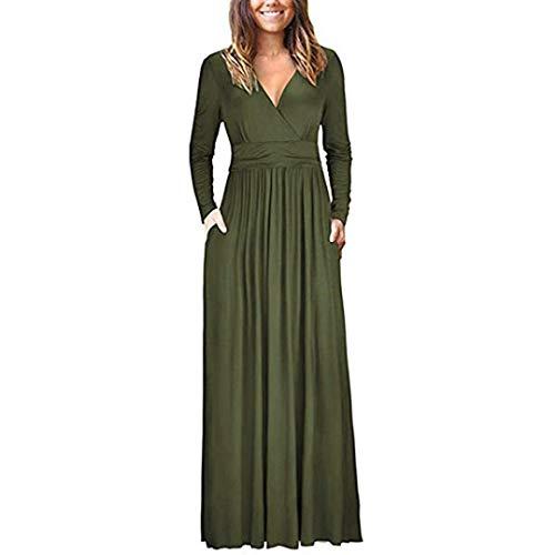 MRULIC Damen Langes Abendkleider Beiläufige Taschen Kurzschluss Hülsen Boden Längen Kleid Lose Parteikleid (EU-38/CN-M, Y-Armeegrün)
