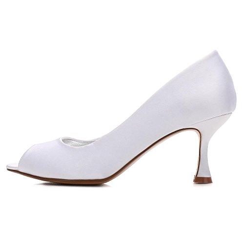 Chaussures Party Peep à 10 Taille E17061 Talon Fait Toe Pour Mariage YC Bas Satin white Sur Dames Court L Femmes Mesure de SO5nwB
