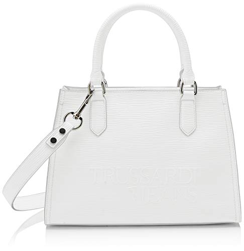 Tote Bag Jeans (Trussardi Jeans Damen T-tote High Frequency Bag, Weiß (Off/White), 30x31x12 centimeters)