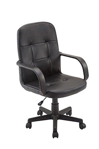 CLP Fauteuil de bureau PEREZ en similicuir, fauteuil pivotant avec accoudoirs, réglable en hauteur, poids admis max 115 kg noir
