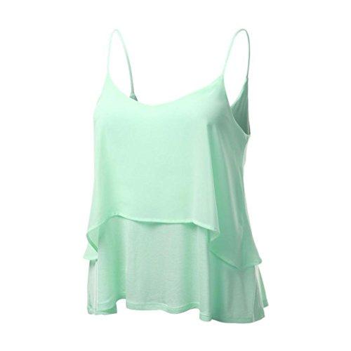 MRULIC Damen T-Shirt Armelloses Top Frauen Verstellbare Schultergurte Runden Hals Leibchen Crop Top (EU-42/CN-L, Mint Grün)