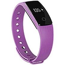 Hongfei SmartWatch Bluetooth Podómetro del monitor de sueño de frecuencia cardíaca Rastreador de ejercicios para iPhone Android Smartphone Púrpura