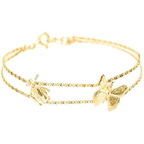 Wouters y Hendrix chapado en oro de ley de plata multi-strand pulsera con la mariposa colgante de Escarabajo de longitud 17,5