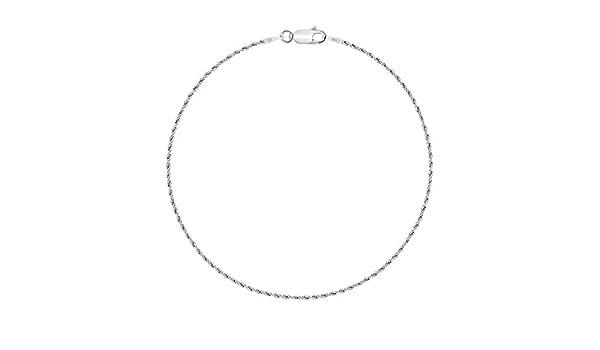 Planetys Cha/îne de Cheville Argent 925//1000 Rhodi/é Maille For/çat Diamant/ée 1 mm