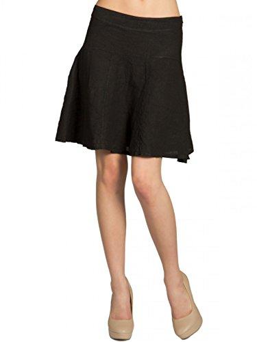 CASPAR RO013 Knielanger Damen Sommer Rock aus Leinen, Farbe:schwarz;Größe:38 M UK10 US8