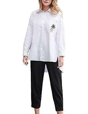 Donna Camicia Camicie Elegante Longsleeve Primaverili Autunno Blusa Casual Unique Baggy Revers Stampa Pattern...