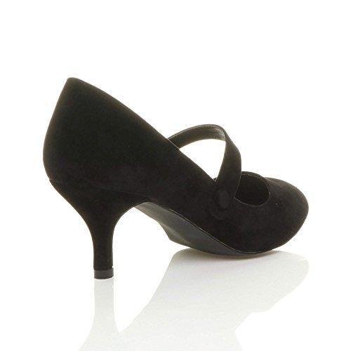 Donna media tacco mary jane lavoro festa elegante scarpe di moda taglia Nero Scamosciata