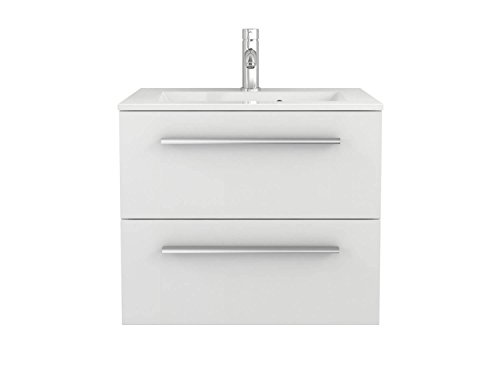 Waschtischunterschrank Waschbecken-Unterschrank weiß Hochglanz - Badmöbel Badezimmermöbel hängend Sieper Libato (60, weiß) - Waschbeckenunterschrank 60
