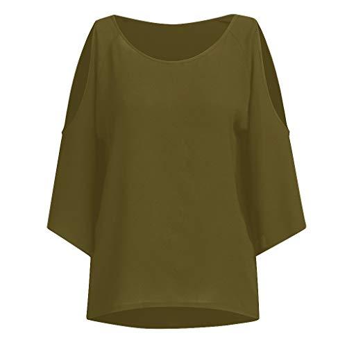 MOTOCO Damen Kurzarm Top Shirt/T-Shirt Lässig Übergröße Print Kalte Schulter Bluse Lässig Tops Camis Übergröße Top(S(32),Armeegrün)