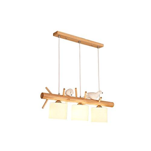 JILAN HOME chandelier- Leuchter-festes Holz-zwei Vogel-Beleuchtungs-Zeichnungs-hängende warme LED E27 örtlich festgelegte Deckenleuchte chandelier ( größe : Three-head - Zeichnung Vögel