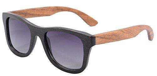 SHINU Woody Bambus Vayfarers Polyarized Flush Spiegel-Objektiv-Sonnenbrille vith Hour-Z6016 (bamboo black &zebra-gradient grey)
