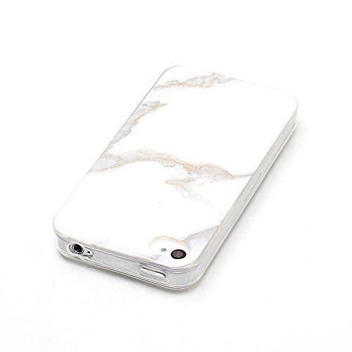 Cover Silicone per iphone 4S/iphone 4 ,OYIME Effetto Marmo Rosa e Nero Custodia e [Pellicola Protettiva] Glitter Morbido Sottile Liscio Disegni Trasparente Chiaro Bordi Originale Protettiva Resistente Bianca