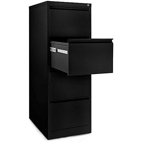 Office Marshal Mueble archivador con 4cajones, acero inoxidable, Color negro (46x 60x 131cm)   con sistema de suspensión de archivo, de oficina