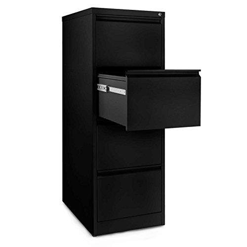 Office Marshal Mobiletto con 4 cassetti, in acciaio, colore: nero, 46 x 60 x 131 (File Cassetto Sistema)