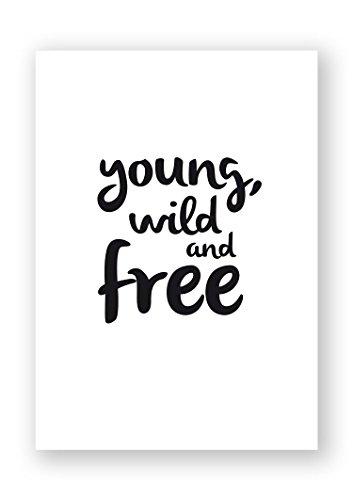 beneart® Young wild and free Poster Wandbild hochwertiges Fotopapier Plakatdruck, Größe:ca. 42 x 60 cm (Wilde Frauen In Der Küche)