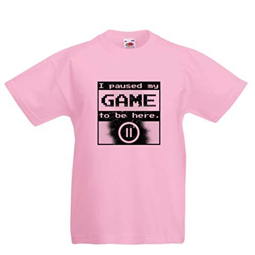 (lepni.me Kinder Jungen/Mädchen T-Shirt Ich pausierte Mein Spiel, um Hier Hemd zu Sein, Gamer lustiges Geschenk (7-8 Years Pink Mehrfarben))