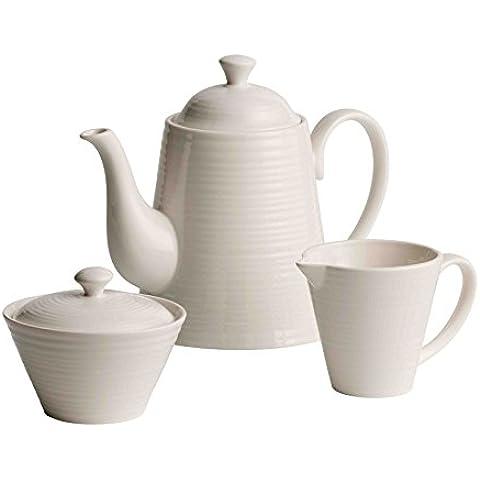 Belleek Pottery Ripple - Juego de tetera, taza de leche y azucarero (cerámica)