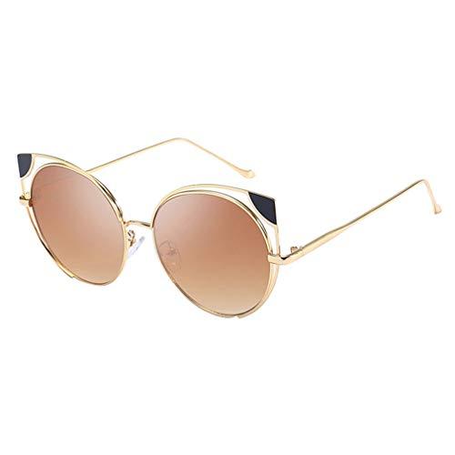 Preisvergleich Produktbild hongxin Frauen Cat Eye Sonnenbrille Klassische Metallrahmen Spiegel Brillen UV400