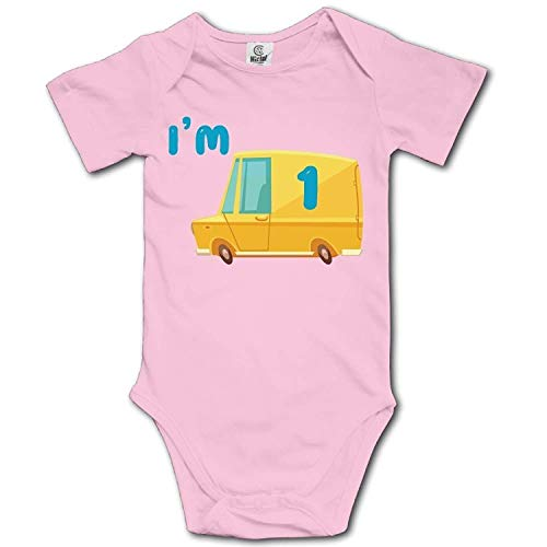 ARTOPB Baby Climbing Clothes Set Dump Truck I'm 1 Bodysuits Romper Short Sleeved Light Onesies,24M