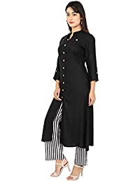 PURE COMFORT Women's Cotton A-line Kurti With Plazzo, Long Kurtis With Plazzo For Women/Girls, Kurti Plazzo Set...