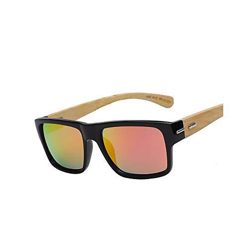 WJMLHLKK Rosa Spiegel Polarisierte Linse Holzbrille Markendesigner Holz Bambus Sonnenbrille Retro Vintage Eyewear Qualität Uv400