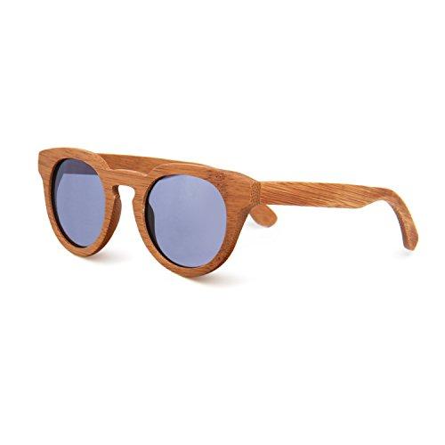 SUKUTU Hombre Mujer Gafas De Sol De Gafas De Bambú Artesanal Gafas De Moda Polarizadas De Moda Retro Al Aire Libre Con Caja De Bambú SU039