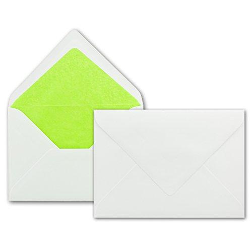 50 Weisse Briefumschläge mit hell-grünem Seidenfutter, DIN B6 12,5 x 17,6 cm, Nassklebung ohne Fenster - Ideal für Hochzeits-Einladungen Grußkarten Weihnachtskarten
