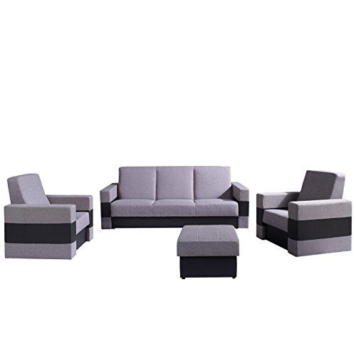 Polstergarnitur Gordia mit Bettkasten und Schlaffunktion, Sofa, Polsterhocker und zwei Sessel, Wohnzimmer-set (Soft 011 + Lux 05)